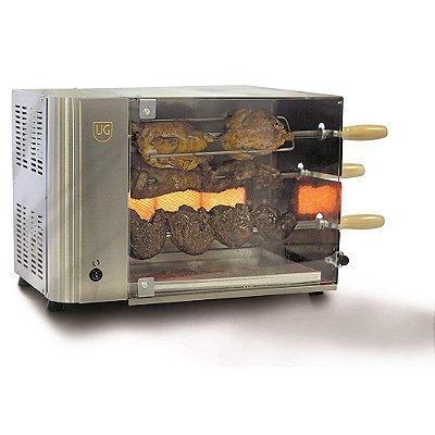 Churrasqueira A Gás 3 Espetos Rotativa Em Inox Ug Estilo