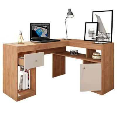 Mesa de Canto Office 1 Gaveta 1 Porta Nilo Buriti/Off White Caemmun