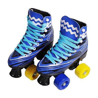 Patins 4 Rodas Roller Clássico Azul Tamanho 34/35 Importway