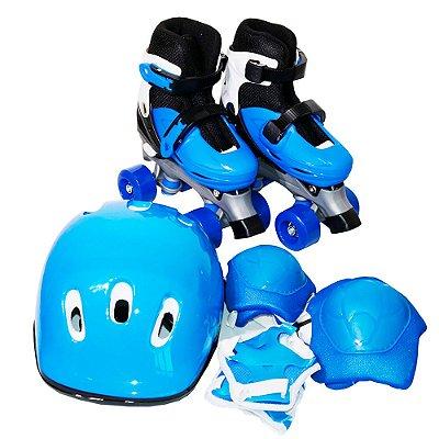 Patins 4 Rodas Roller Azul Kit Proteção G BW-017AZ Importway