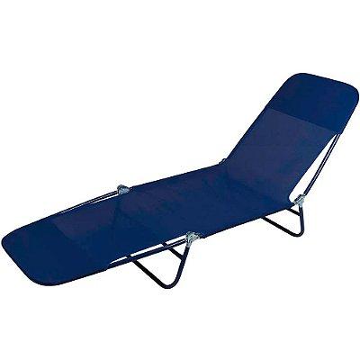 Cadeira Espreguiçadeira Textilene Azul Marinho 182cm Mor