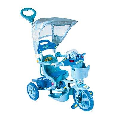 Triciclo E.T com Capota Azul 2 Em 1 Passeio e Pedal Bel Brink