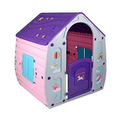 Casinha de Brinquedo Unicórnio Rosa, Roxo e Cinza Bel