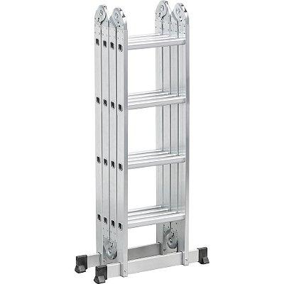 Escada Dobravel Articulada Aluminio 4x4 16 Degraus Vonder