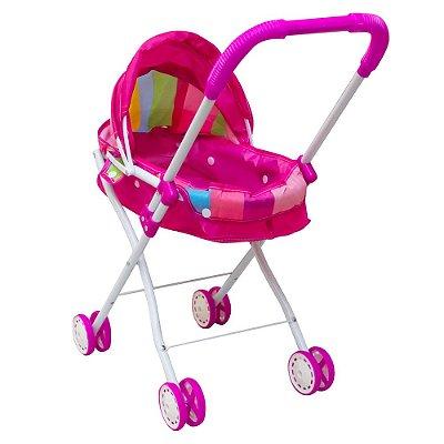 Carrinho Infantil Para Boneca Brinquedo Rosa BW098 Importway