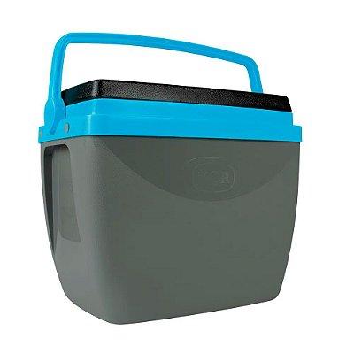 Caixa Térmica Alça Polipropileno Cinza e Azul 34 litros Mor