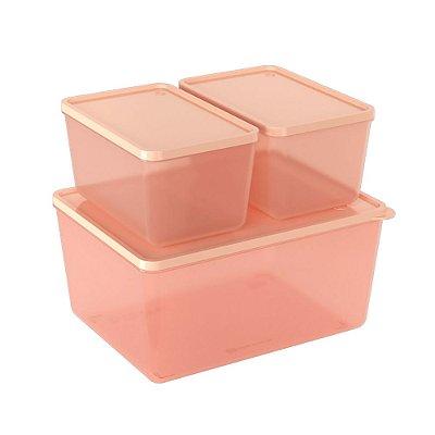 Conjunto 3 Potes Rosa Translúcido Blush Basic Coza