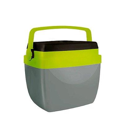 Caixa Térmica Alça Polipropileno Cinza e Verde 18 litros Mor