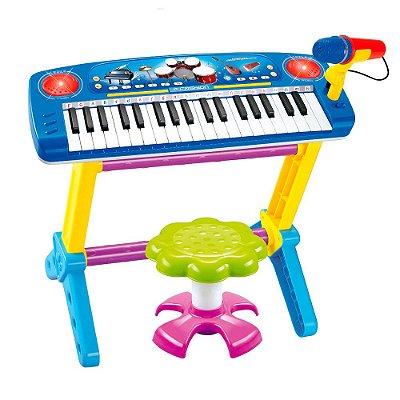 Piano Infantil Banquinho Microfone Azul BW151AZ Importway