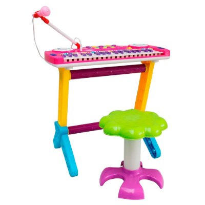 Piano Infantil Banquinho Microfone Rosa BW151RS Importway
