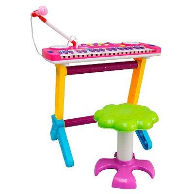 Piano Infantil Banquinho Microfone Rosa BW151RS Importway