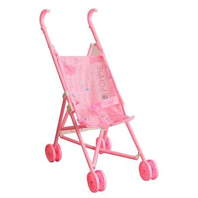 Carrinho Boneca Infantil Rosa Guarda Chuva BW150 Importway