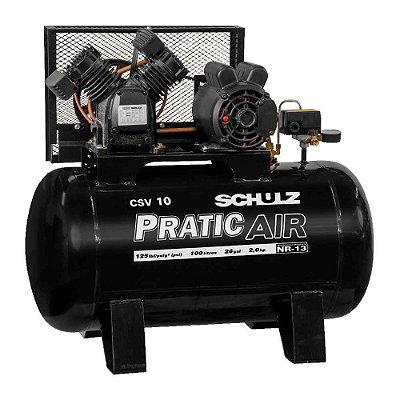 Compressor de Pistão Pratic Air CSV 10/100 2CV Schulz 110v