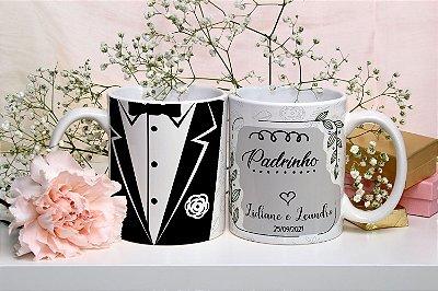 Caneca Personalizada Casamento Padrinho (Nome e Data) (mod.2)