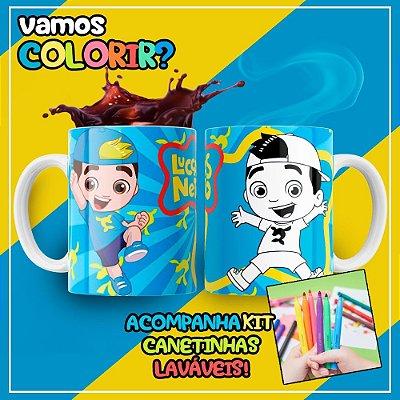 Caneca Para Colorir Dia das Crianças Lucas Neto (Grátis Kit Canetinhas)