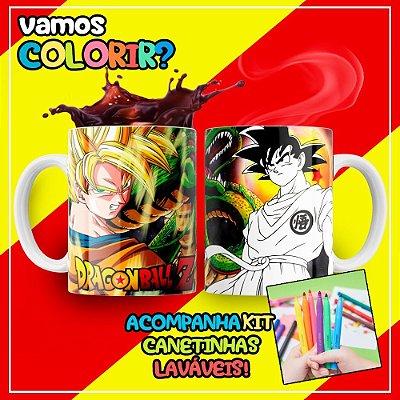 Caneca Para Colorir Dia das Crianças Dragon Ball Z (Grátis Kit Canetinhas)