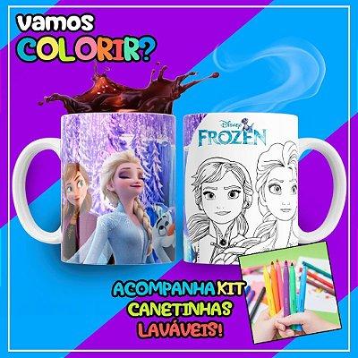Caneca Para Colorir Dia das Crianças Frozen (Grátis Kit Canetinhas)