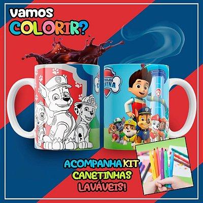 Caneca Para Colorir Dia das Crianças Patrulha Canina (Grátis Kit Canetinhas)
