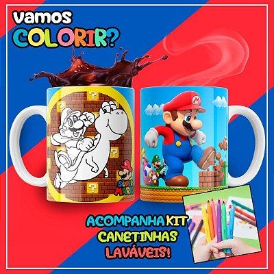 Caneca Para Colorir Dia das Crianças Mario Bros (Grátis Kit Canetinhas)