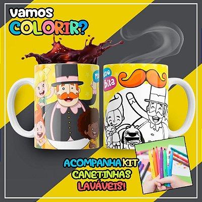 Caneca Para Colorir Dia das Crianças Mundo Bita (Grátis Kit Canetinhas)