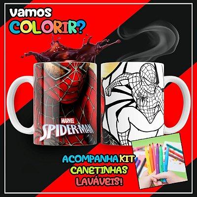 Caneca Para Colorir Dia das Crianças Homem Aranha (Grátis Kit Canetinhas)