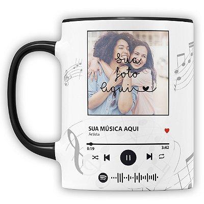 Caneca Personalizada com Foto e Música Spotify (mod.1)