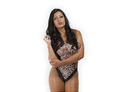 Body - Onça com Estampa Rendada - Coleção Divas