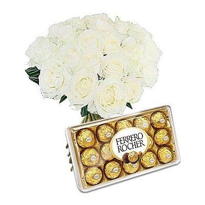 Buquê Rosas Brancas Artificiais e Bombom Ferrero Rocher