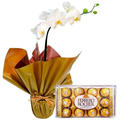 Orquídeas Artificiais e Chocolates para Presente