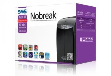 SMS 1.200VA - Nobreak SMS uST1200S  Monovolt Station II Monovolt com Bateria - Preto