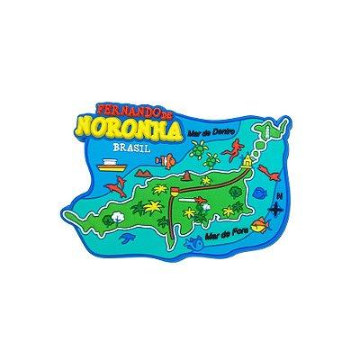 Imã emborrachado alto-relevo Mapa da ilha - Noronha