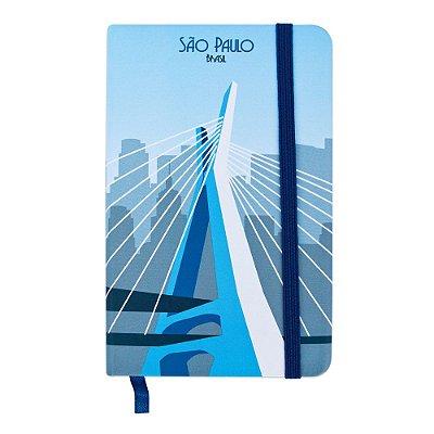 Caderninho de anotações tipo Moleskine ponte estaiada - São Paulo