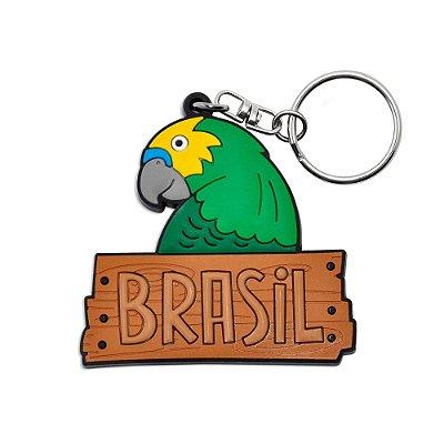 Chaveiro emborrachado arara - Brasil