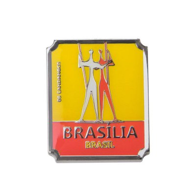 Imã de geladeira de metal os candangos - Brasília