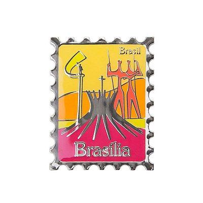 Imã de geladeira de metal selo Catedral - Brasília