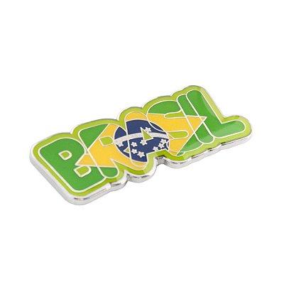 Imã de geladeira metal escrito - Brasil