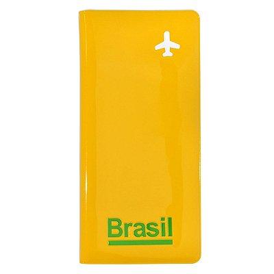 Porta-passaporte e voucher / amarelo - Brasil