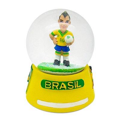 Globo de neve futebol com base amarelo - Brasil