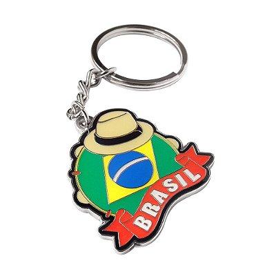 Chaveiro metal pandeiro - Brasil