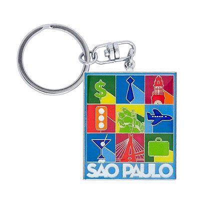 Chaveiro de metal ícones - São Paulo