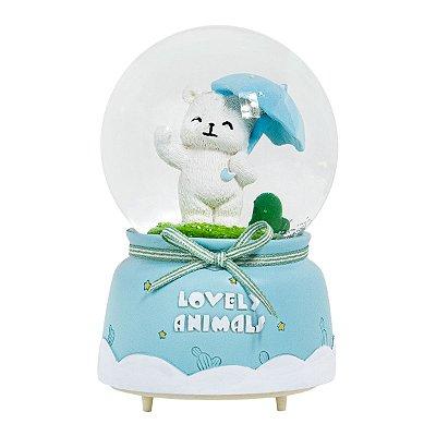Globo de Neve Musical com Iluminação em Led - Urso Polar