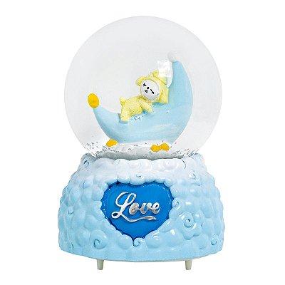 Globo De Neve Musical Com Iluminação Em Led - Blue Love