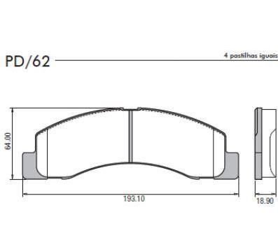 JOGO PASTILHA DIANT FORD FRAS-LE PD62 F250-F4000-F350-