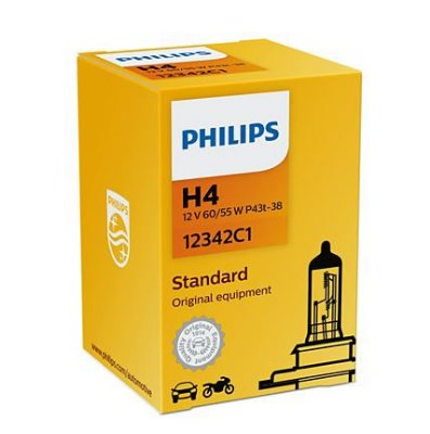 LAMPADA FAROL H4 CARRO-MOTO PHILIPS 12342C1
