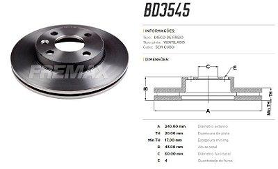 DISCO FREIO DIANT GM VENT FREMAX BD3545 ONIX-COBALT (PAR)