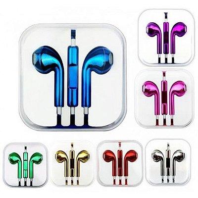 Fone De Ouvido P2 Para iPhone Metalizado Cor Sortida Na Caixa Acrílica