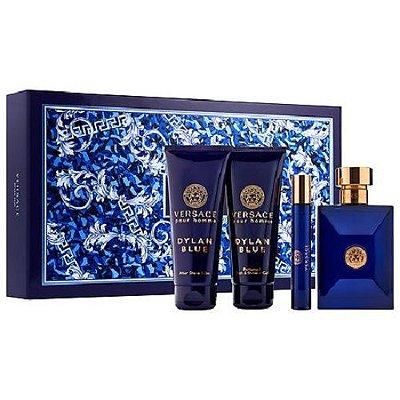 Kit Versace Pour Homme Dylan Blue Eau de Toilette Versace - Perfume Masculino 100 ML + Pós Barba 100 + Gel de Banho 100 ML + Miniatura 10 ML