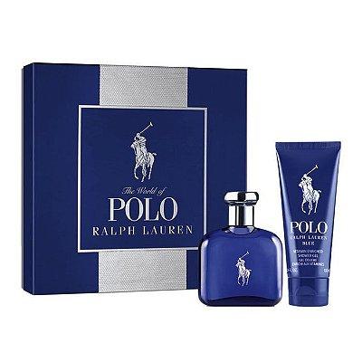Kit Polo Blue Eau de Parfum Ralph Lauren - Perfume Masculino 75 ML + Hair & Body Wash