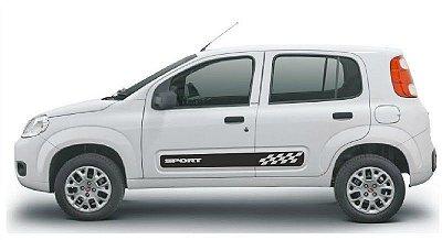 Kit Adesivo faixa lateral tuning Fiat Novo Uno 2 e 4 portas modelo Sport  SRT