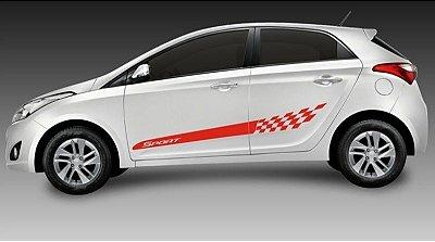 Kit Adesivo faixa lateral tuning Hyundai HB20 hatch e sedan modelo Sport